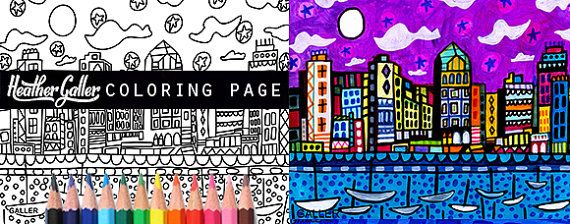 San Diego California Skyline City Coloring Book Pages Adult Cityscape Printable Instant Download