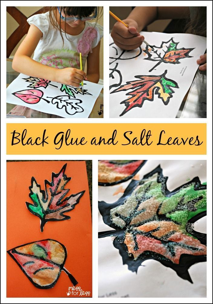 Fall craft black glue and salt leaves leaves decoration and free a fun fall art project black glue and salt leaves get your free leaf printable and make these gorgeous textured fall decorations sciox Image collections
