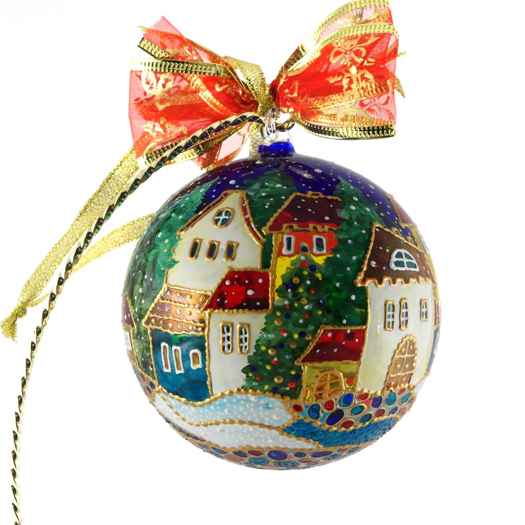 "Christmas Ornaments Online Shopping Europe: ""European Christmas Town"" Glass Christmas Ball Ornament Is"