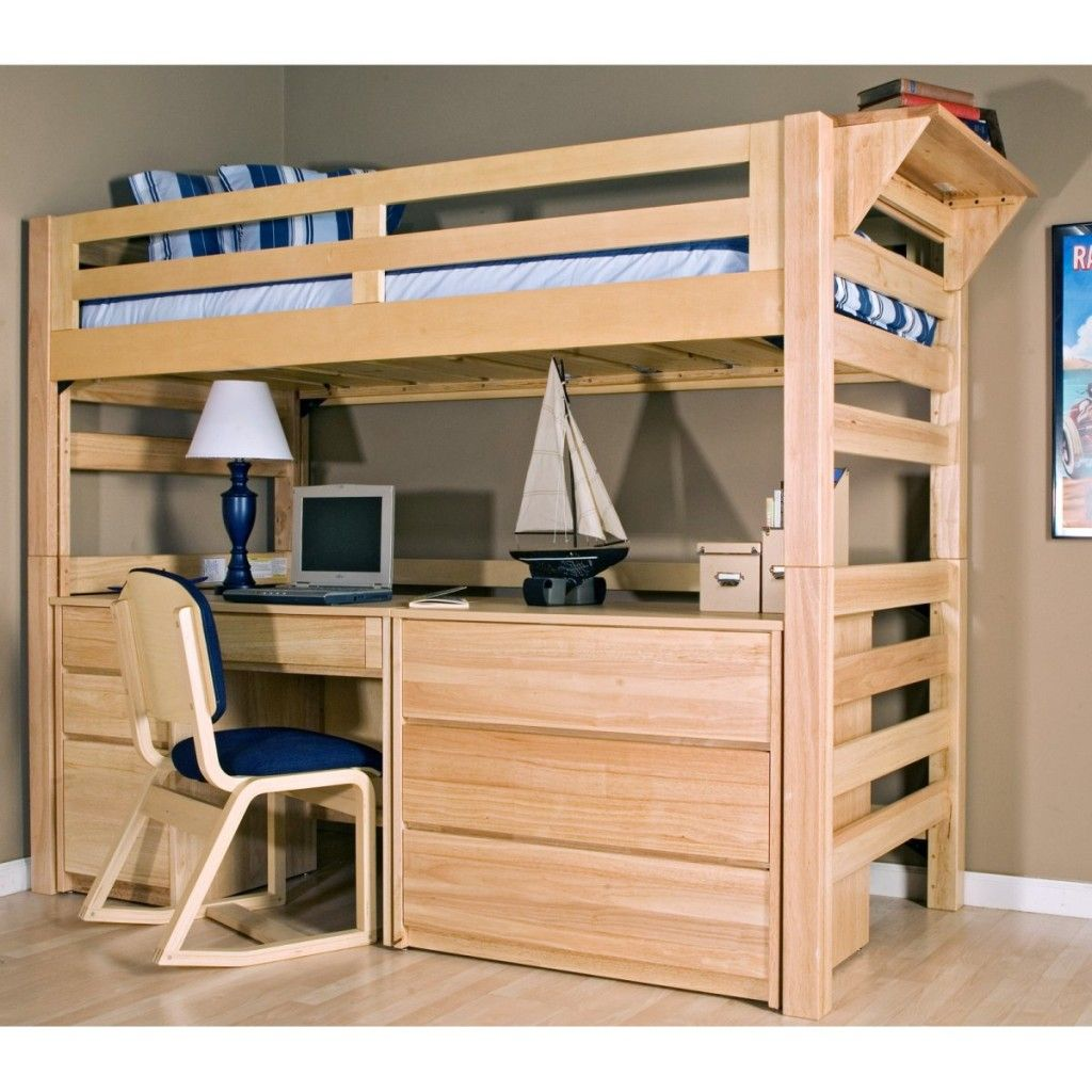 Wooden loft bed with desk  Twin Loft Bed With Desk Wooden  room  Pinterest  Lofts Desks and