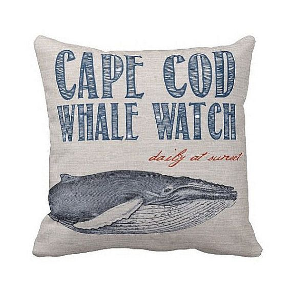Pillow+Cover+Beach+Decor+Navy+Whale+Watching+Cotton+by