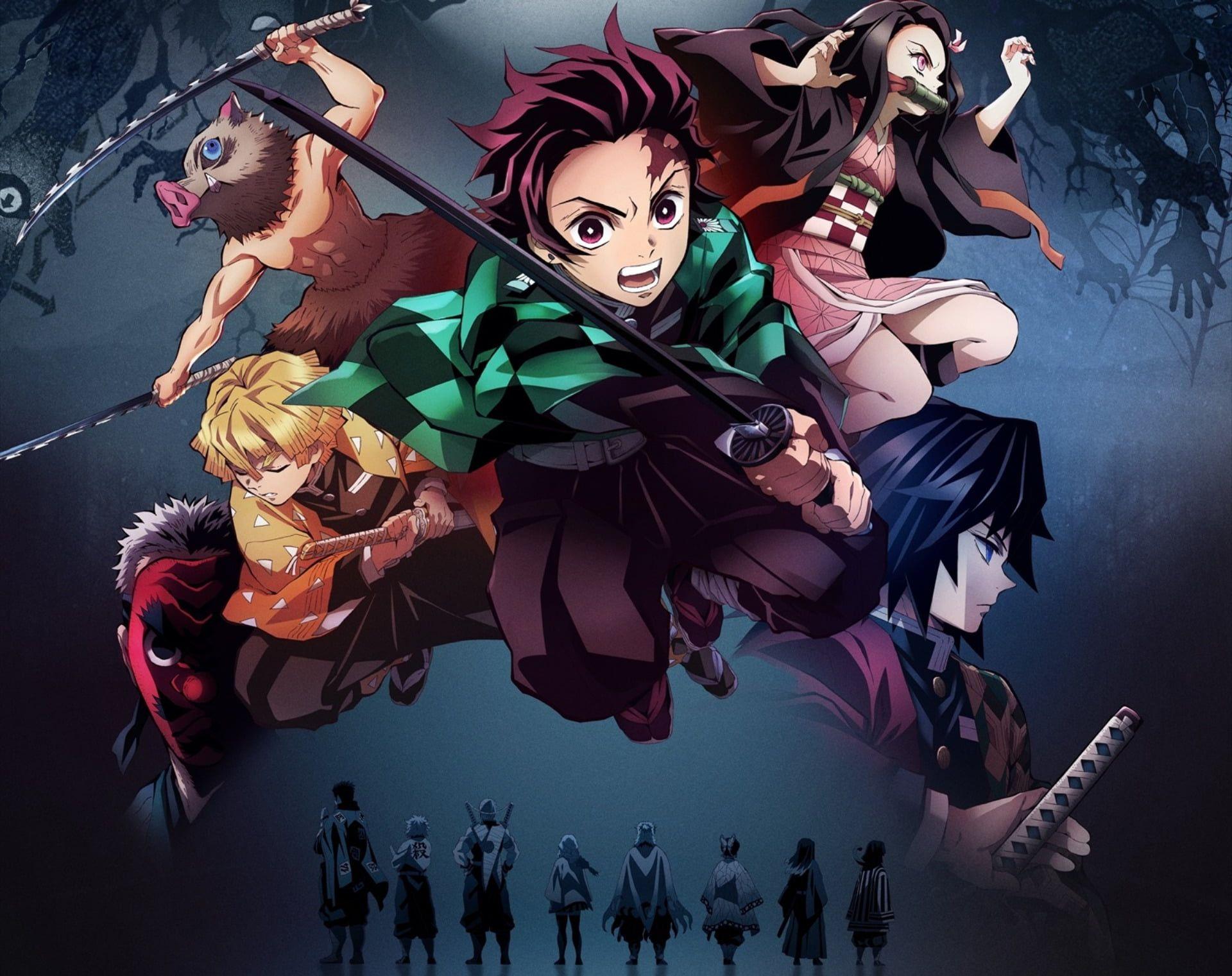 Anime Demon Slayer Kimetsu No Yaiba Giyuu Tomioka Inosuke Hashibira Nezuko Kamado Tanjirou Kamado Zenitsu Agatsuma 1080p Wal In 2020 Slayer Anime Anime Demon Anime