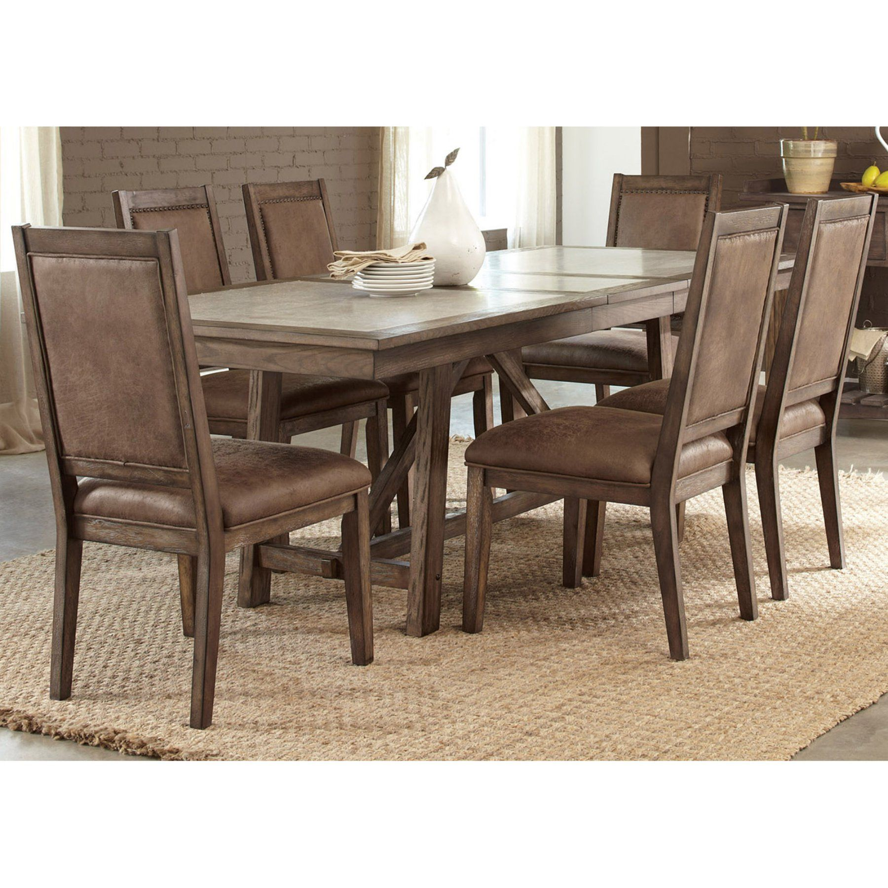 Best Liberty Furniture Fairfield 7 Piece Trestle Table Set 400 x 300