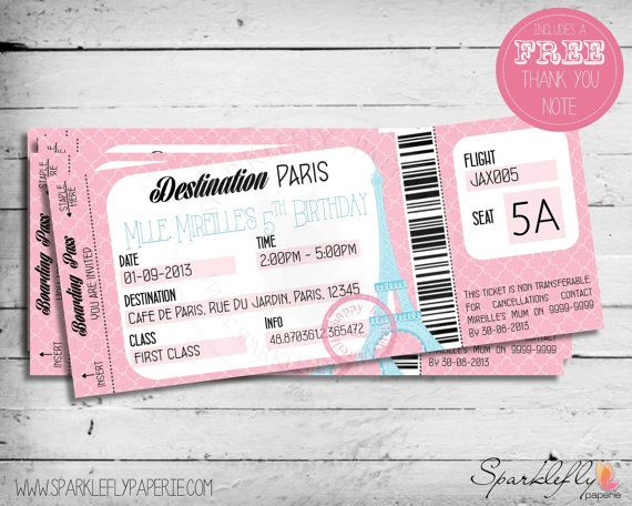 Paris themed boarding pass ticket birthday by sparkleflypaperie a boarding pass to paris ticket style invitation for your french parisian themed birthday party in pink and blue it contains the eiffel filmwisefo Gallery