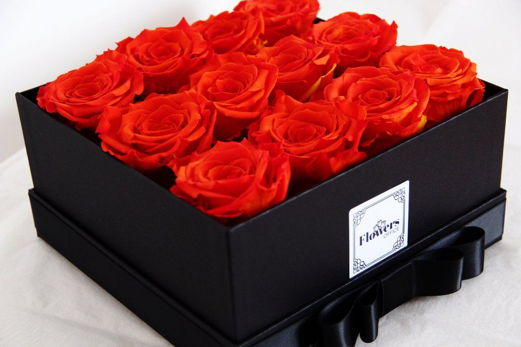 Flame Red Roses That Lasts For More Than A Year Handmade With Love Flowers In The Box Flowers Box Roses