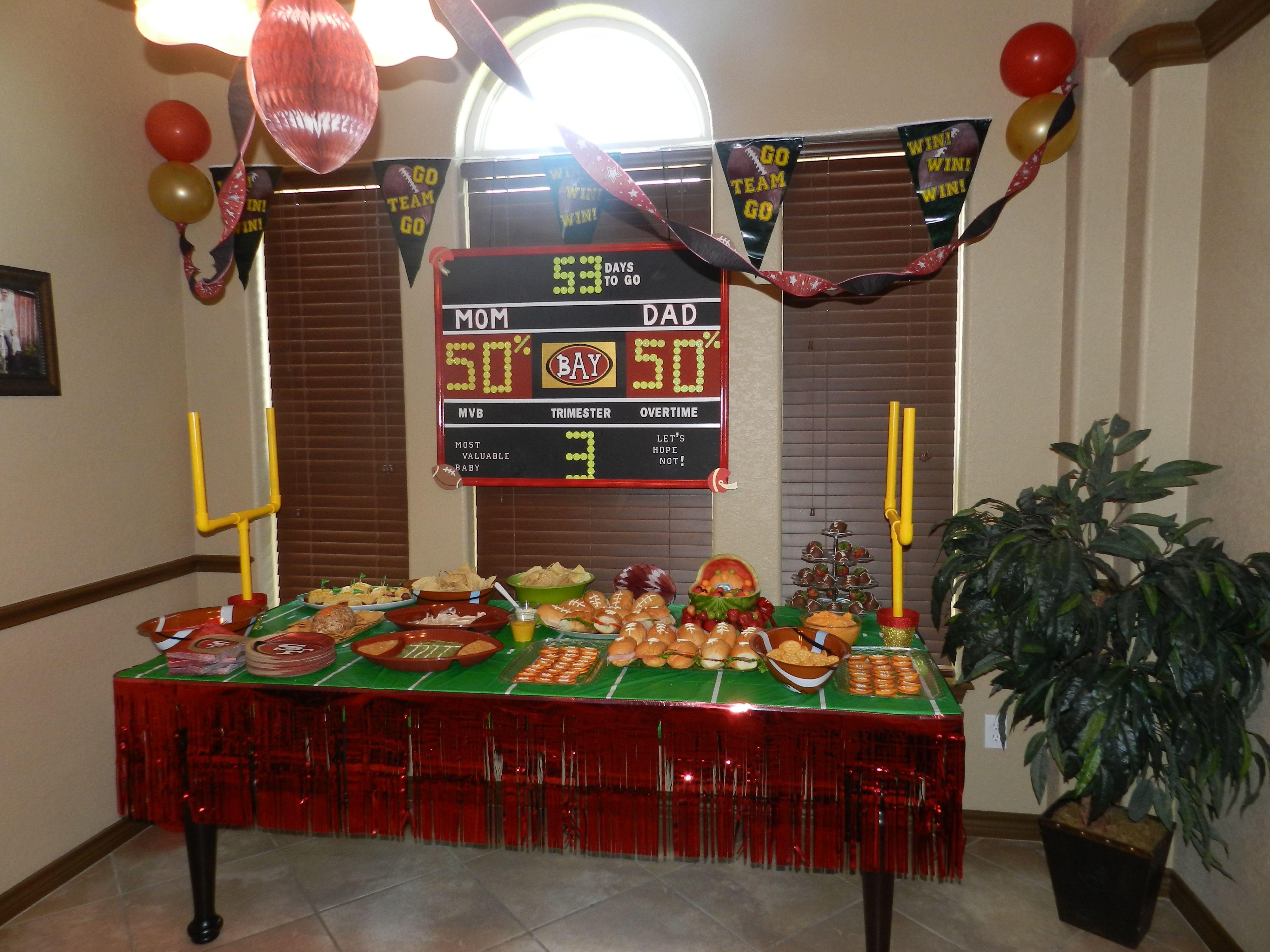 49ers Baby Shower. LOVE The Scoreboard!