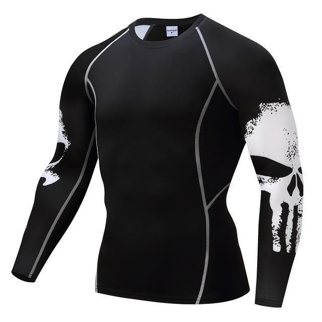 Compression T Shirts Men Skull Punisher Fitness Tops Sport Bike Cycling Jersey