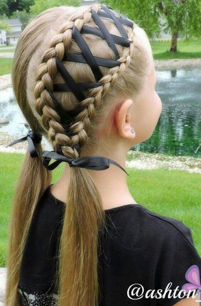 No Tutorial Double Ribbon Laced Piggie Braids Hair Styles Kids Hairstyles Long Hair Styles