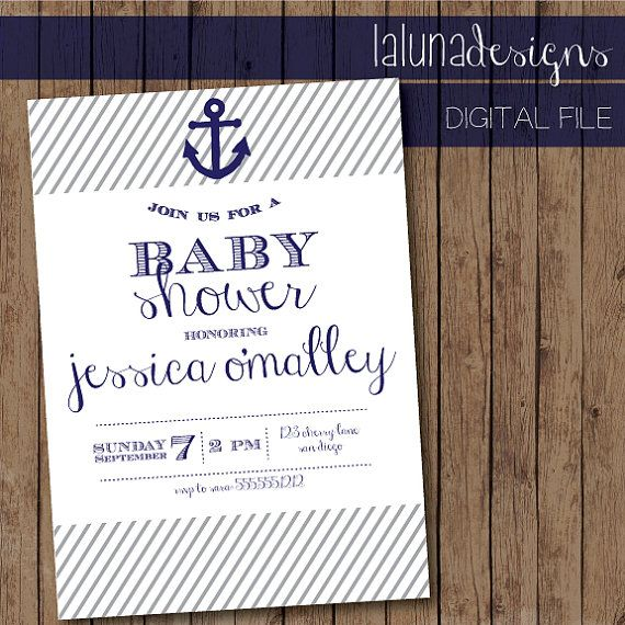 Nautical Baby Shower Invite- Anchor Baby Shower Invite - Printable - printable baby shower invite