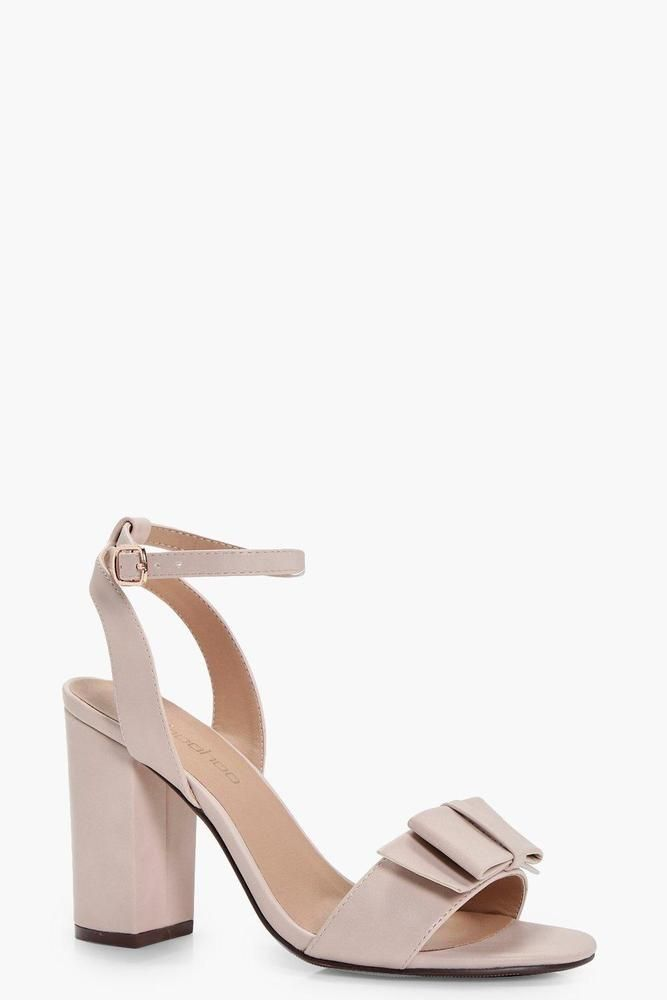 2a4acda7b7b Details about Boohoo Womens Lillie Bow Trim Block Heel