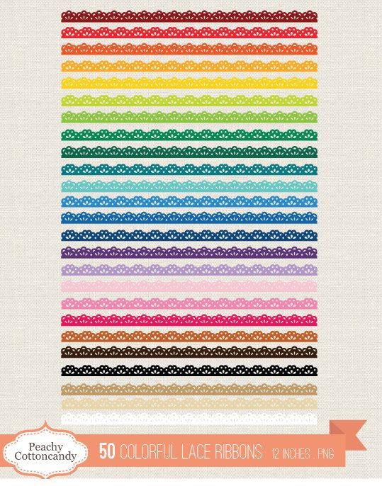 50 Colorful Lace Ribbons Clip Art