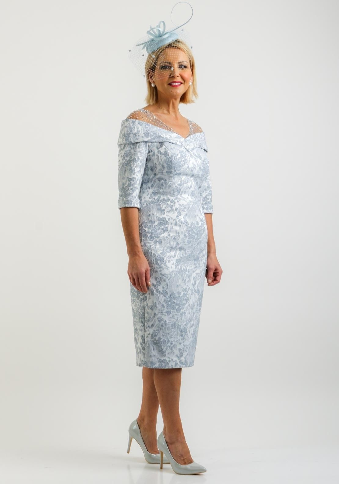 John Charles Embroidered Jacquard Dress Powder Blue Lace Dress With Sleeves Groom Outfit Dresses