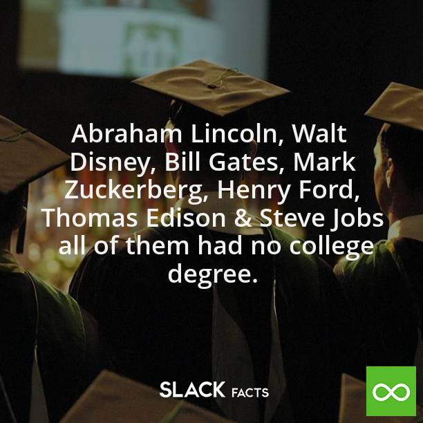 Did You Know That Abraham Lincoln Walt Disney Bill Gates Mark Zuckerberg Henry Ford Thomas Edison Ste College Degree College Degree Quotes Degree Quotes