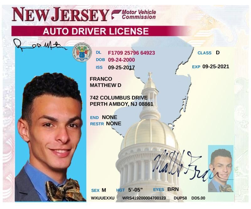 Custom New Jersey Driver S License Cake Topper New Jersey