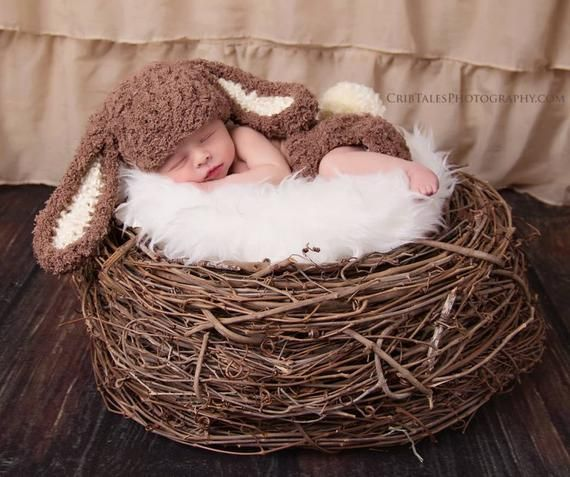 Photo of Baby boy hat, baby girl hat, bunny, easter bunny, photo prop, crochet brown bunny set, baby shower gift, coming home outfit, first easter