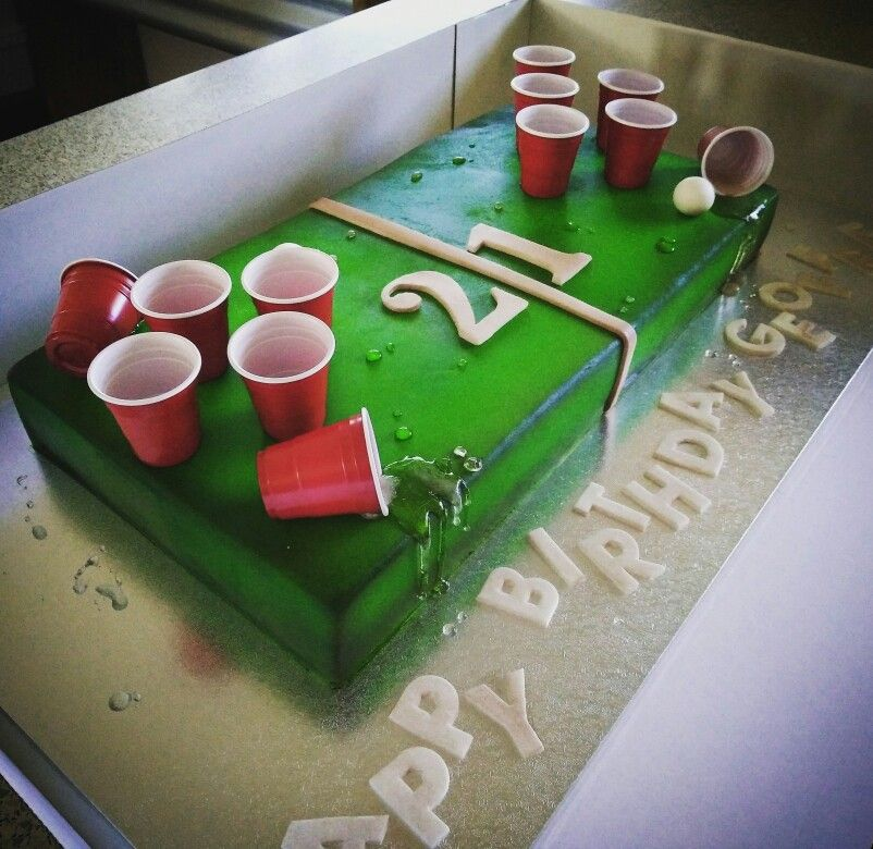 Beer Pong Cake With Images 21st Birthday Cakes 21st Birthday