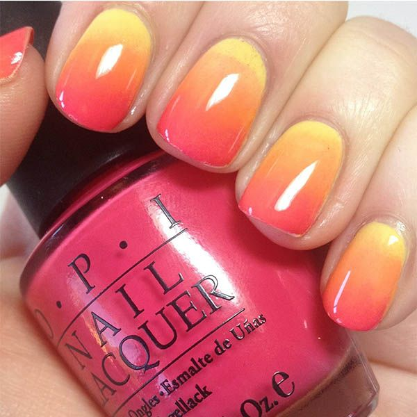 Orange and Yellow Ombre Nails | Nail Art for Short Nails | Pinterest ...