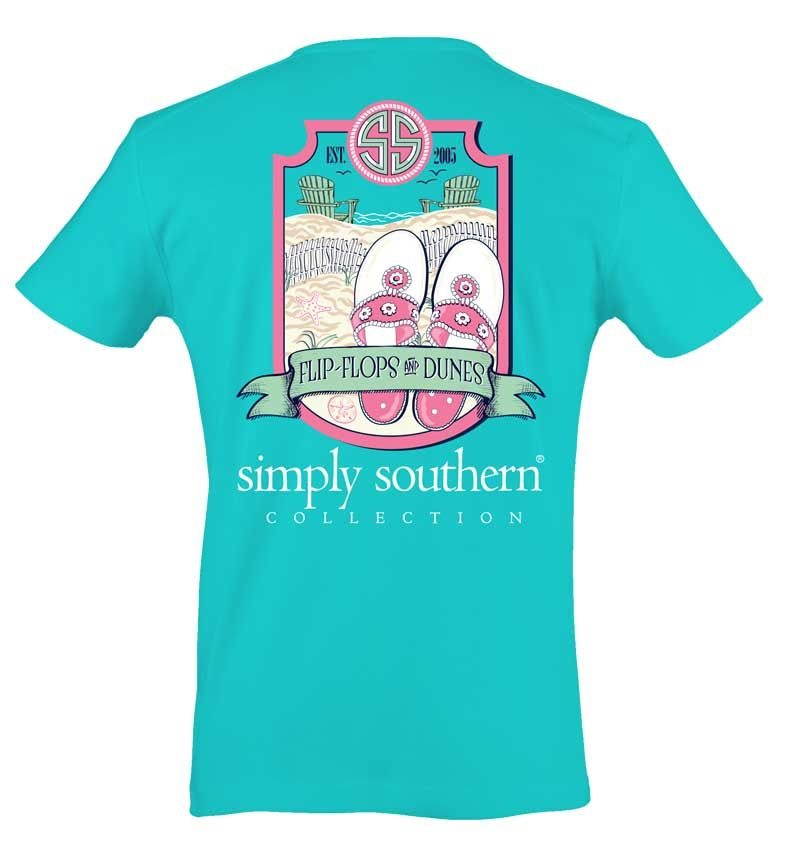 Simply Southern Preppy Collection Flip Flops And Dunes T -7369