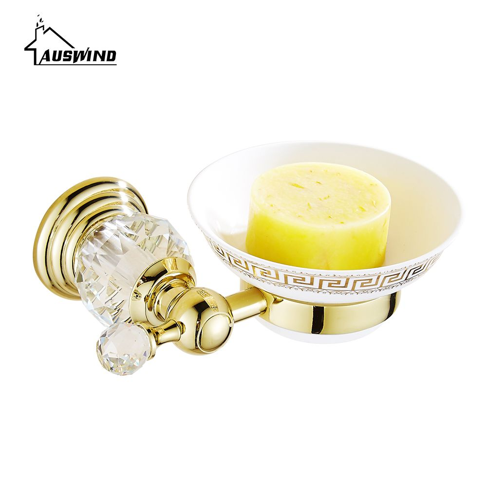 Antique Gold Diamond Crystal Soap Holder Europe Polished Brass Soap ...