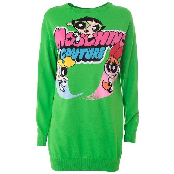 MOSCHINO Powerpuff Girl cotton pull ($478) ❤ liked on Polyvore featuring  tops, sweaters · SweatshirtCime VerdiMaglione Di ...
