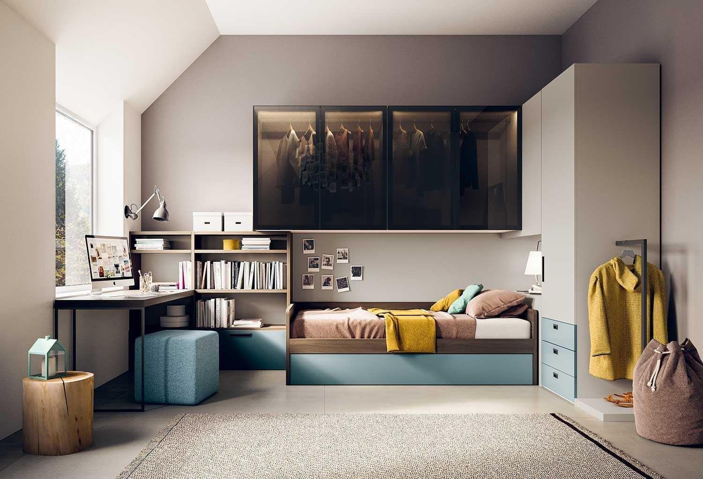 Cameretta a ponte dal design moderno con letto, armadio in ...