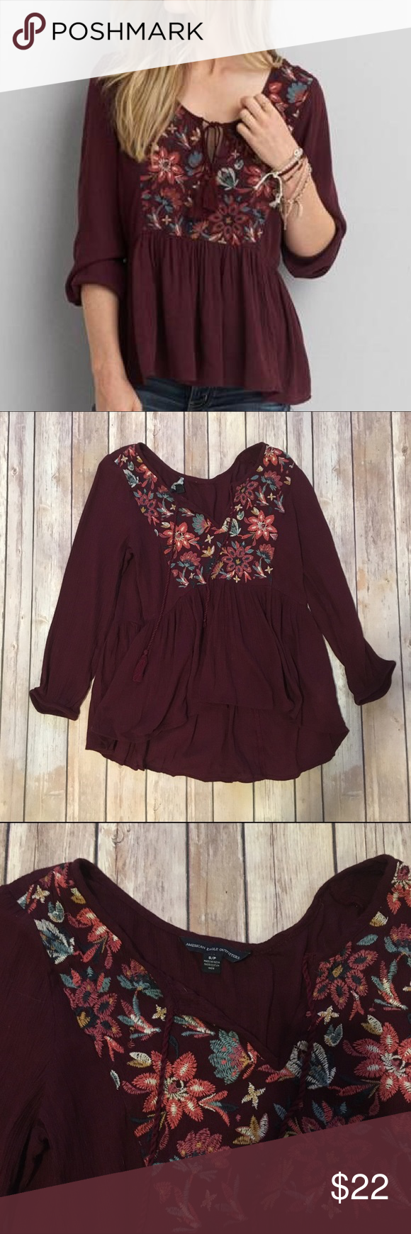 """American Eagle Embroidered Peasant Top Beautiful peasant top with embroidery detail! Beautiful burgundy shade. Gauzy material. Only """"flaw"""" is that the size tag came unstitched on one end. Excellent pre-loved condition, only worn a couple of times!   🚫no trades 🚫no modeling ✅dog friendly/🚭smoke free home ✅reasonable offers ✅bundle & save! American Eagle Outfitters Tops Blouses"""