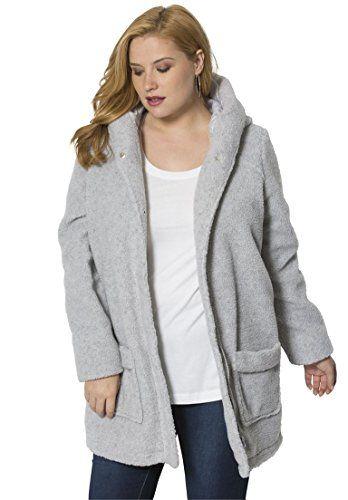f1d0d0d9fc5 Roamans Womens Plus Size Hooded Berber Fleece Coat Heather Grey5X     Read  more at the image link.