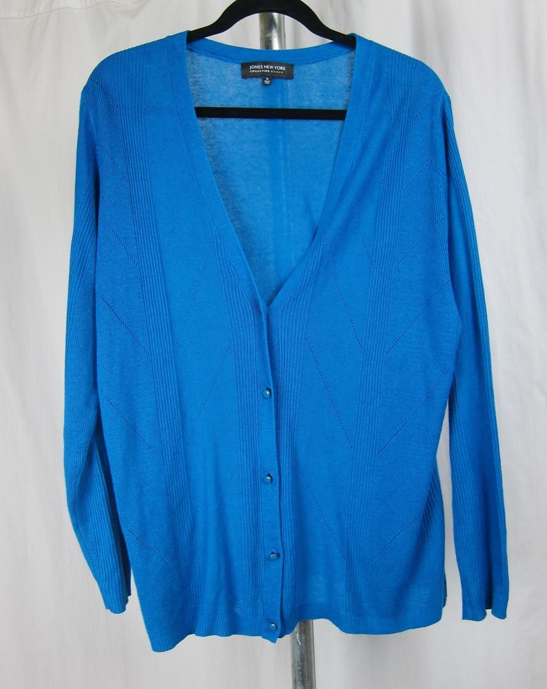 JONES NEW YORK collection linen bright blue cardigan sweater v-neck pointelle 1X #JonesNewYork #Cardigan