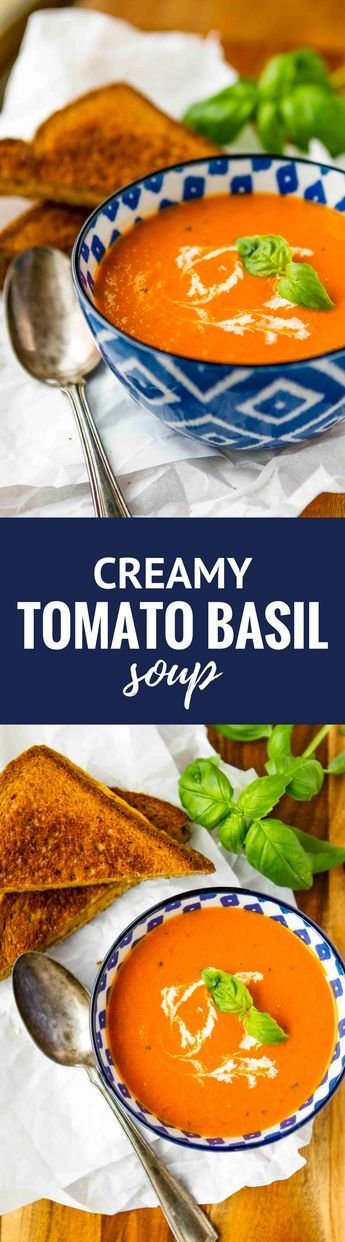 Homemade Tomato Soup -- this creamy tomato basil soup recipe is a total copycat of my favorite soup at First Watch! Perfect paired with a hot and fresh classic grilled cheese sandwich… | unsophisticook.com