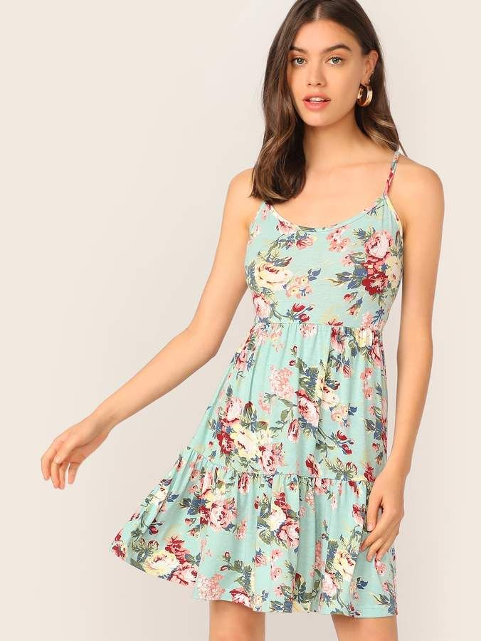 bd7c875b5c Shein Floral Print Flippy Hem Slip Dress in 2019 | Products ...