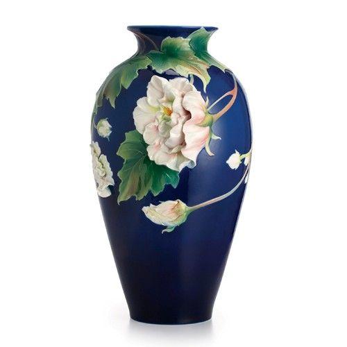 Franz Porcelain Collection Cotton Rose Flower Large Vase Limited