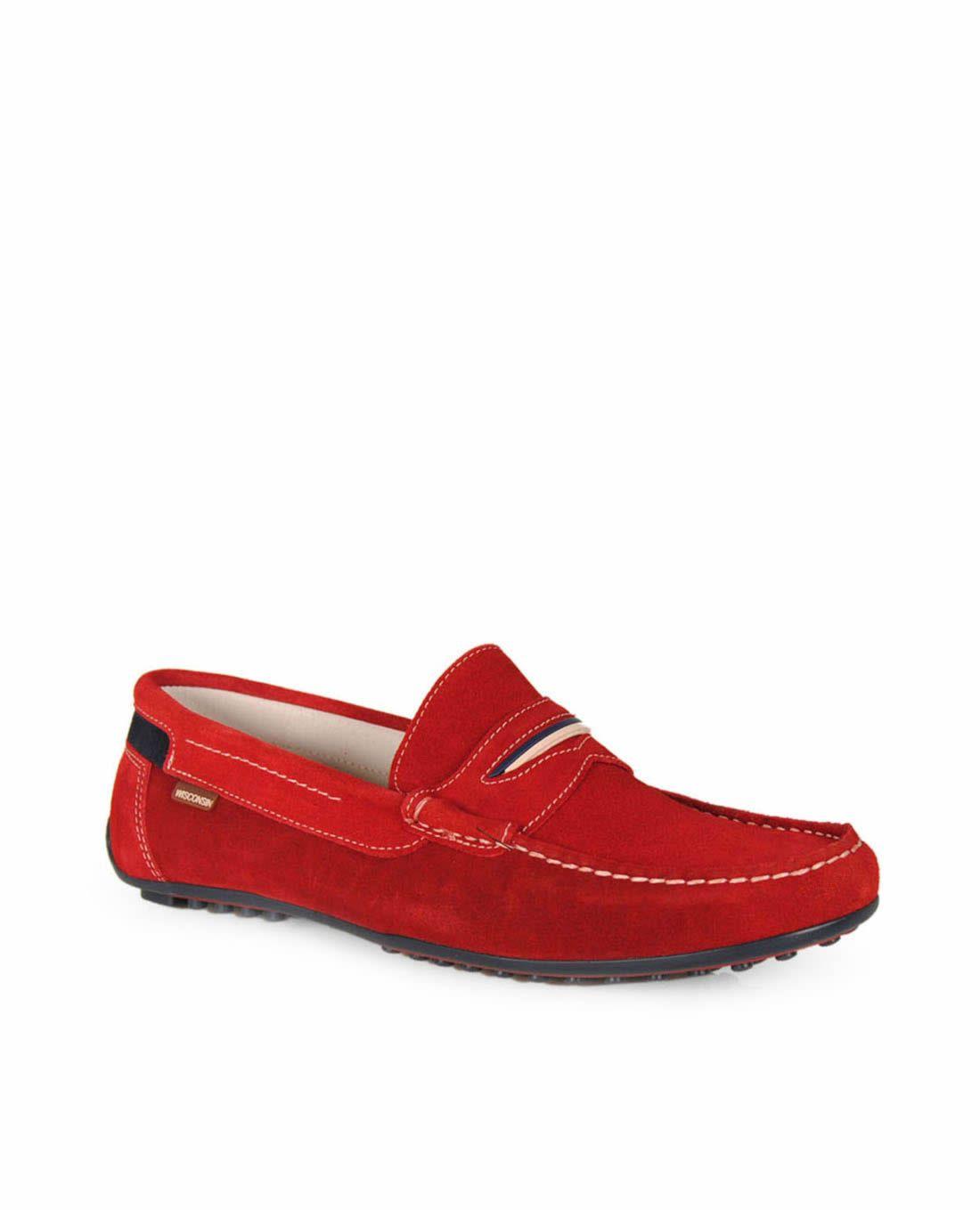 dea508ab Mocasines WISCONSIN rojo 2359 Mocasines Hombre, Zapatos Mocasines,  Punteado, Patrón De Zapato,