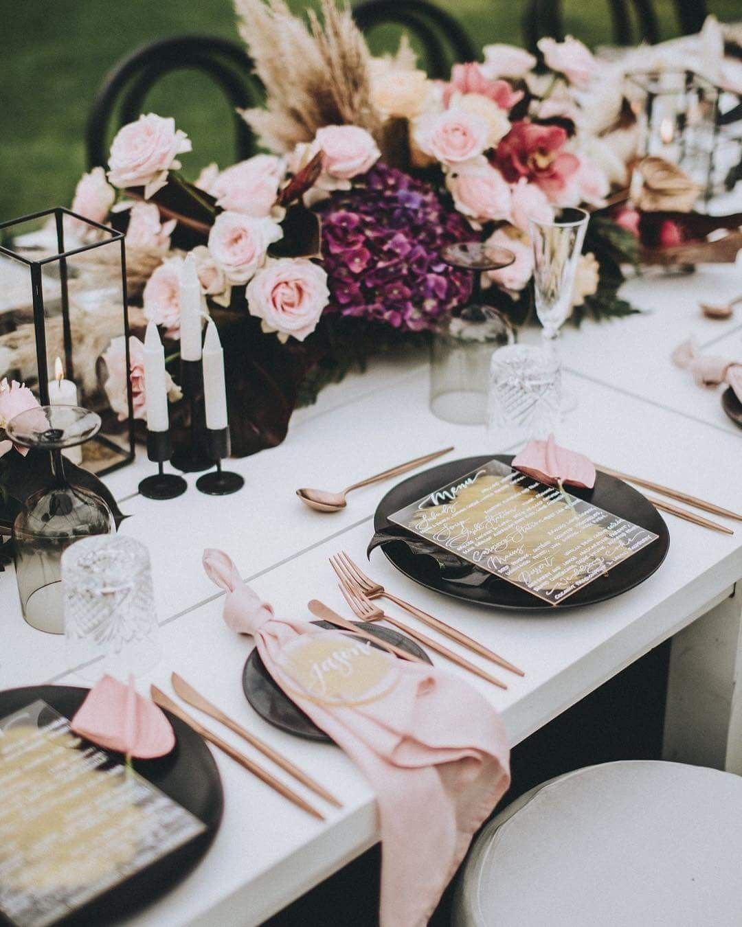 Blush Pink Spring Wedding Table Setting With Images Wedding