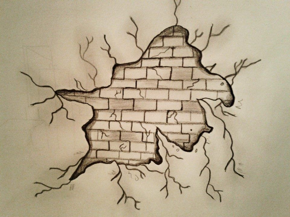 Breaking wall pencil sketch by forma si culoare shape and color