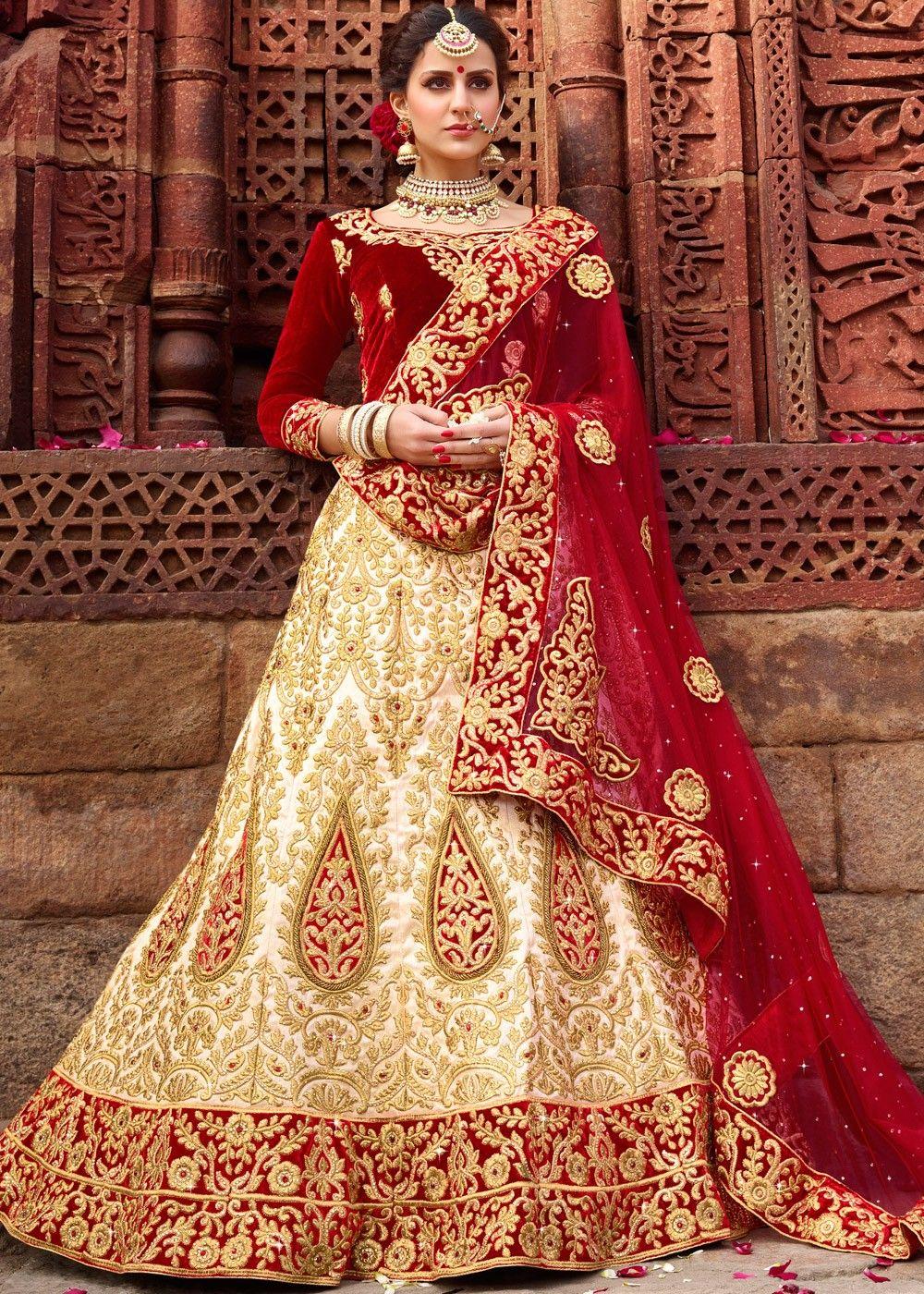 Cream art silk bridal lehenga choli with dupatta bridal