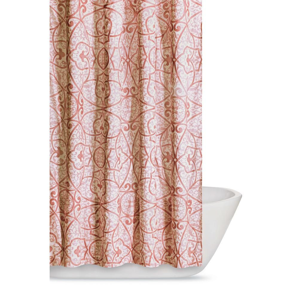 Perfect Marcello 72 In. Coral (Pink) Shower Curtain
