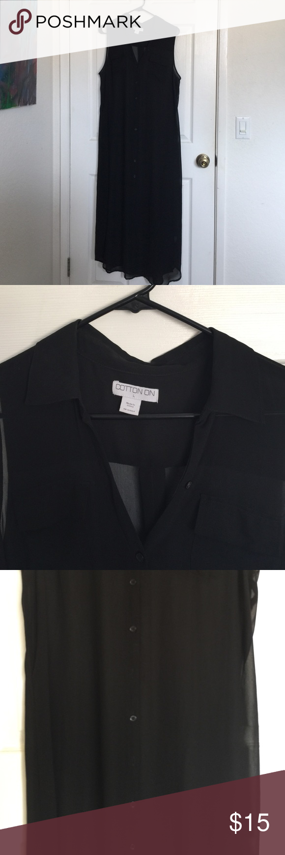 Chiffon Midi Dress Black chiffon button down midi dress with collar. Missing two buttons (pictured). Cotton On Dresses Midi