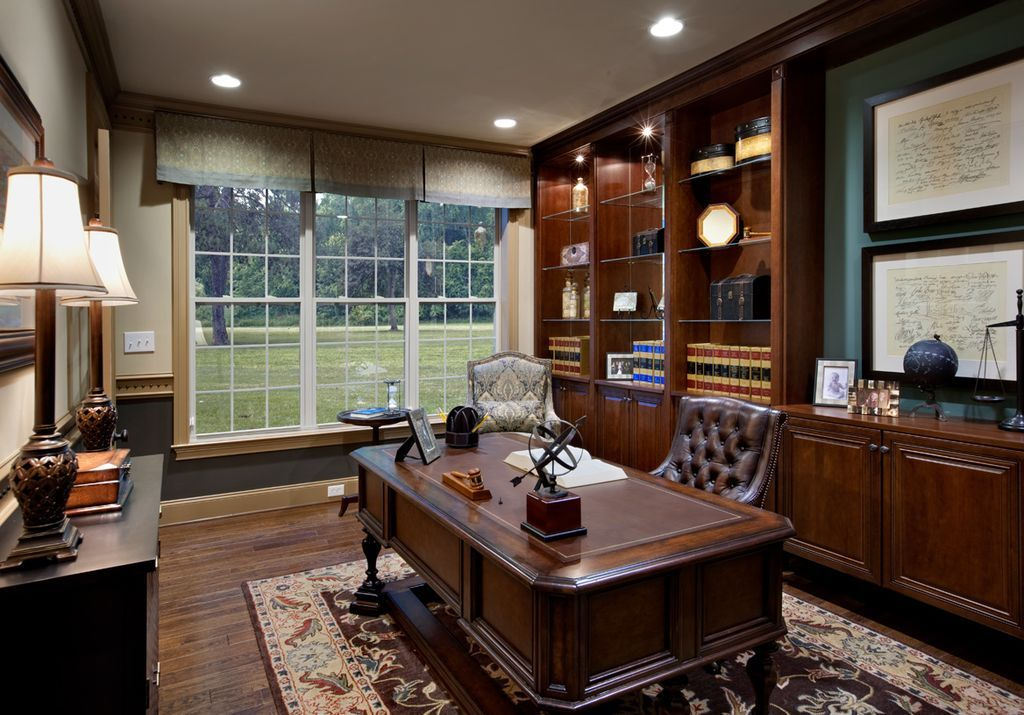 Traditional home office with built-ins. #homeoffice ...