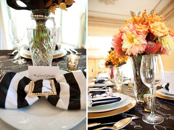 black wedding table decorations 4 black white striped napkins gold modern black amp white 1892