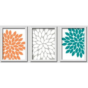 Orange Wall Art aqua and orange canvas art | home decor wall art wall art canvas
