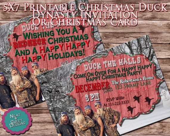 5 X 7 Printable Duck Dynasty Christmas Party Invitation Or Duck Dynasty Christmas Card - Duck Dynasty Party - Duck Dynasty Christmas Invite