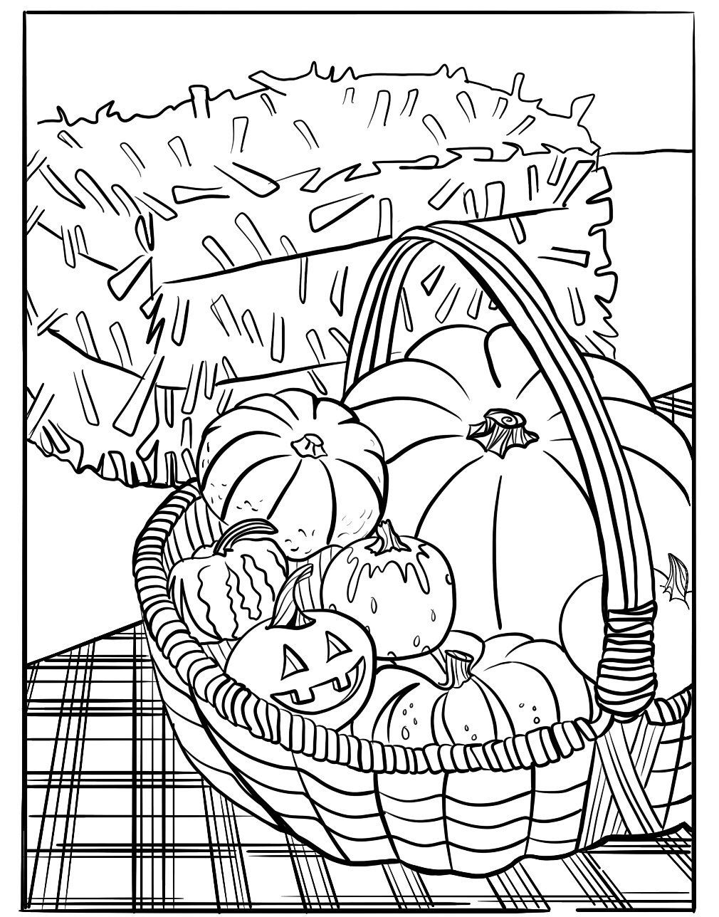"""Halloween Harvest Coloring Sheet, 8.5"""" x 11"""" Coloring ..."""