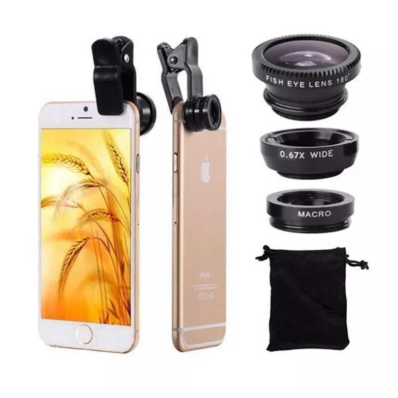 3 in 1 Universal Clip Camera Lens 0.67 Wide Angle+180 Degree Fish Eye+Macro Lens for Mobile Phones Tablet #wideangle
