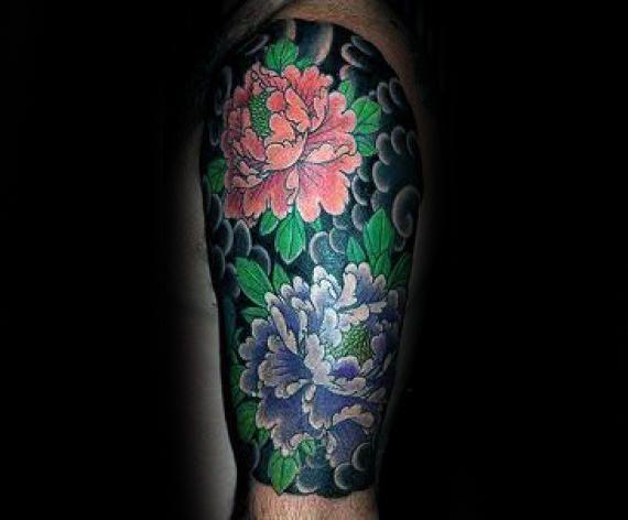 Guy With Peony Flower Half Sleeve Tattoo Japanese Clouds Half