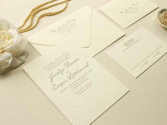Harmony | Blind Letterpress Wedding Invitation, Lace Letterpress Invite  DEPOSIT