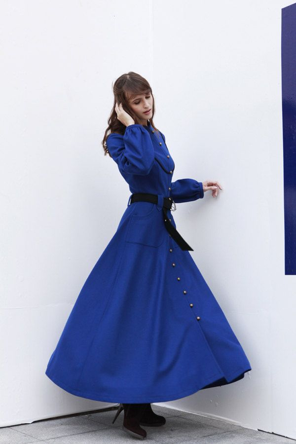 029e9eb5339 Royal Blue Cashmere Coat Long Sleeve Wool Jacket Big Sweep Maxi Wool Winter Coat  Long Dress Coat for Women  Fast Shipping- NC414.  179.99