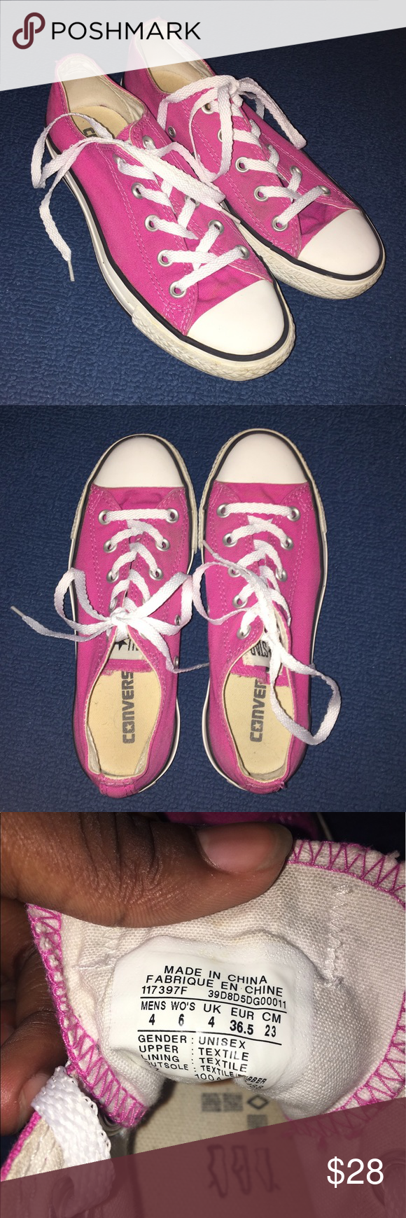 Pink Low-Top Converse Women's size 6, men's size 4 • Converse have different laces in them, but are still white laces so not much different.  • Converse in great condition!  • Will make sure shoes are really white before being shipped :) Converse Shoes Sneakers