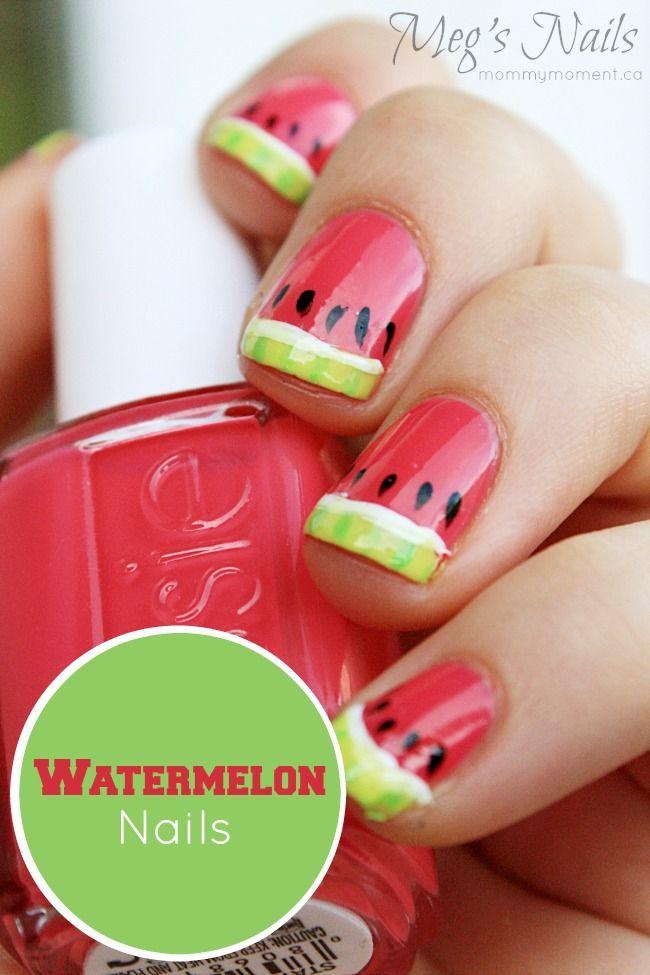 Watermelon Nail Art | Kiwi, Watermelon nail art and Watermelon nails