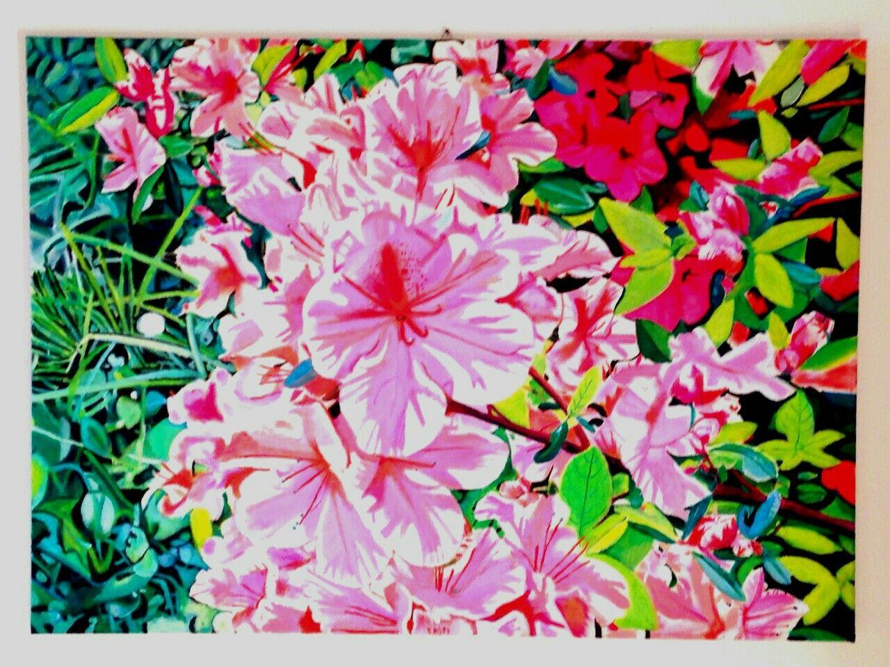 Il giardino della signora Teresa Olio su Tela 65X90 cm. Edy Antúnez Milano Italia