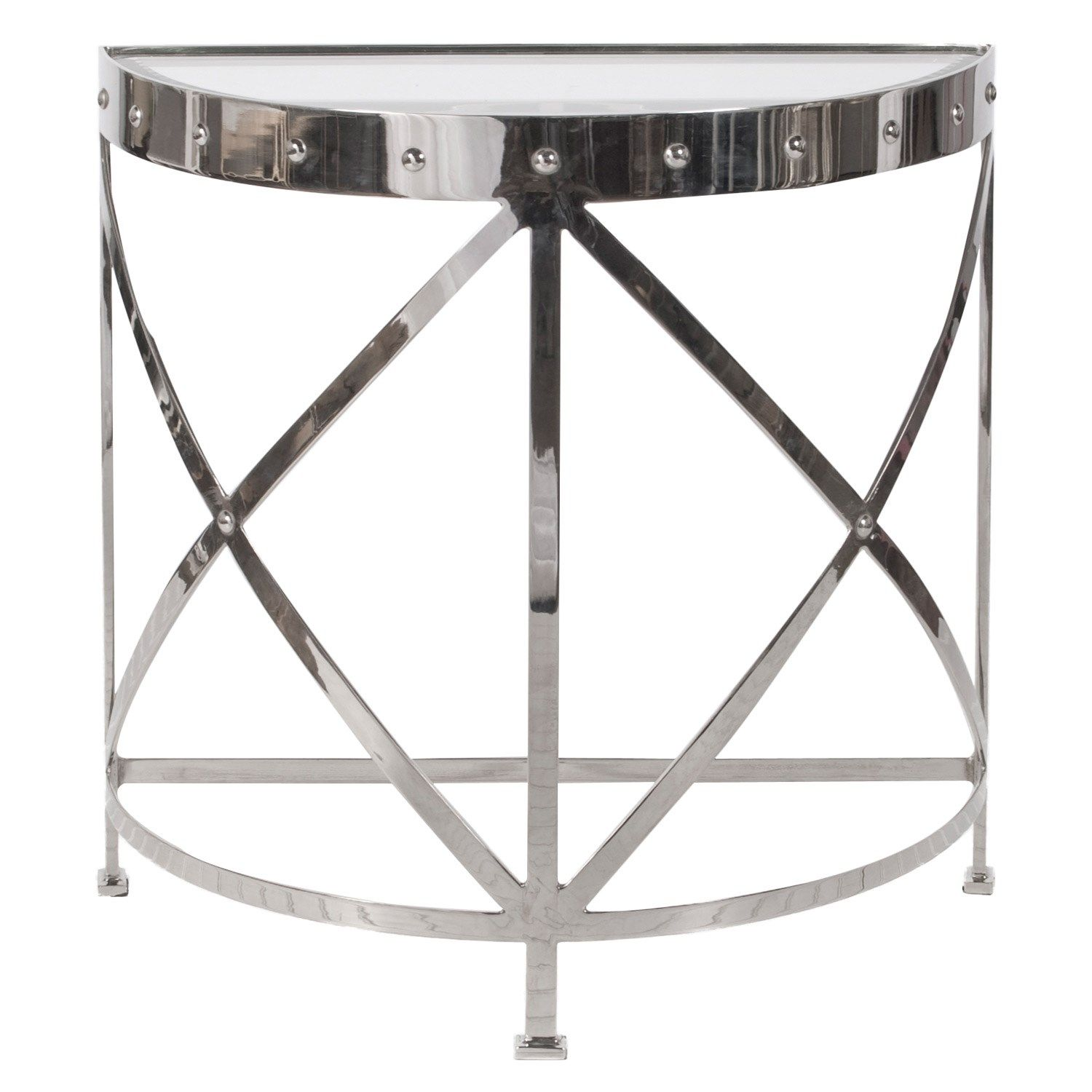 Worlds Away Grove Nickel Studded Console